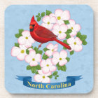 North Carolina State Cardinal Bird Dogwood Flower Coaster