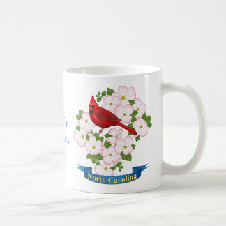 North Carolina State Cardinal Bird Dogwood Flower Coffee Mug