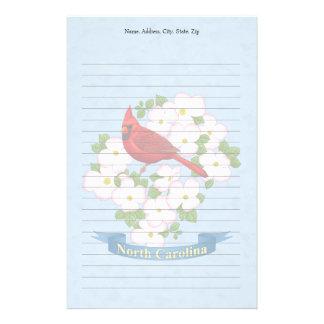 North Carolina State Cardinal Bird Dogwood Flower Customized Stationery