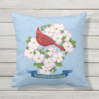 North Carolina State Cardinal Bird Dogwood Flower Outdoor Pillow