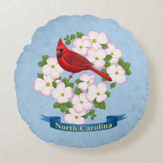 North Carolina State Cardinal Bird Dogwood Flower Round Pillow