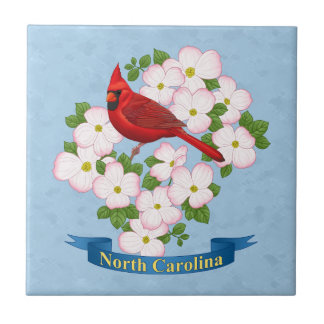 North Carolina State Cardinal Bird Dogwood Flower Tiles