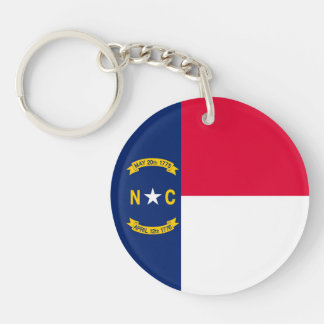 North Carolina State Flag Design Double-Sided Round Acrylic Keychain