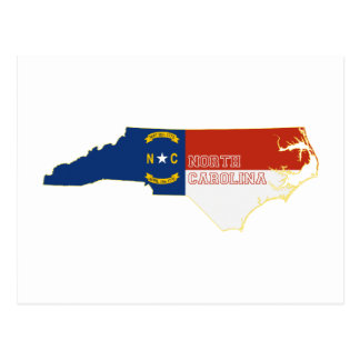 North Carolina State Flag Map Postcard