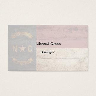 North Carolina State Flag on Old Wood Grain Business Card