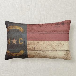 North Carolina State Flag on Old Wood Grain Lumbar Pillow