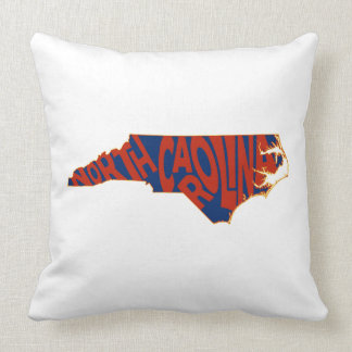 North Carolina State Name Word Art Red Throw Pillow