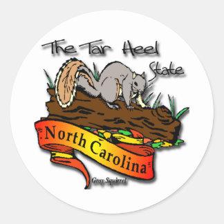 North Carolina Tar Heel State Gray Squirrel Classic Round Sticker