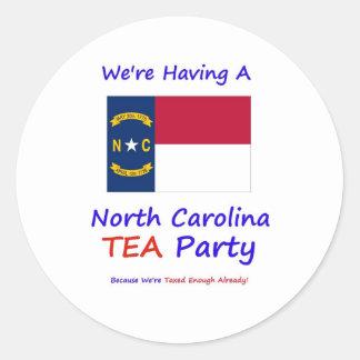 North Carolina TEA Party - Taxed Enough Already! Round Sticker