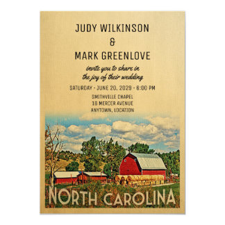 North Carolina Wedding Invitation Farm Barn Rustic