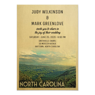 North Carolina Wedding Invitation Vintage Mountain