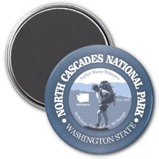 North Cascades National Park (rd) 3 Inch Round Magnet