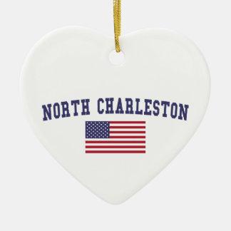 North Charleston US Flag Ceramic Ornament