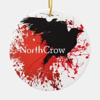 North Crow Round Ceramic Ornament