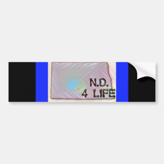 """North Dakota 4 Life"" State Map Pride Design Bumper Sticker"