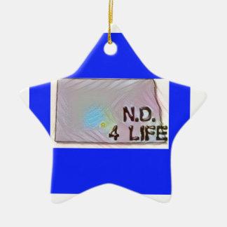 """North Dakota 4 Life"" State Map Pride Design Ceramic Ornament"