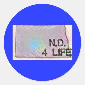 """North Dakota 4 Life"" State Map Pride Design Classic Round Sticker"