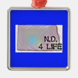 """North Dakota 4 Life"" State Map Pride Design Metal Ornament"