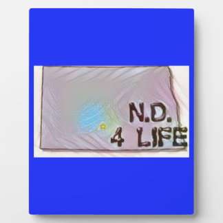 """""""North Dakota 4 Life"""" State Map Pride Design Plaque"""