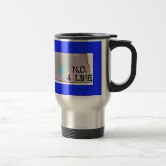 """""""North Dakota 4 Life"""" State Map Pride Design Travel Mug"""