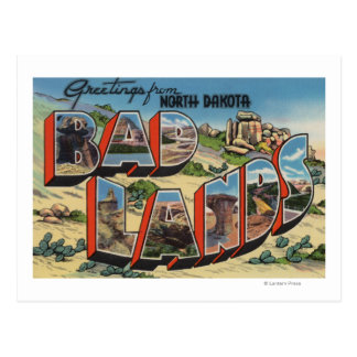 North Dakota - Badlands - Large Letter Scenes Postcard