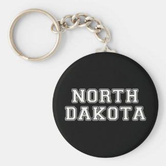 North Dakota Basic Round Button Keychain