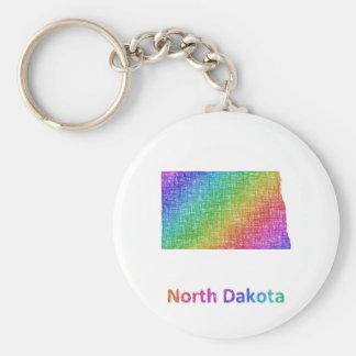 North Dakota Basic Round Button Keychain