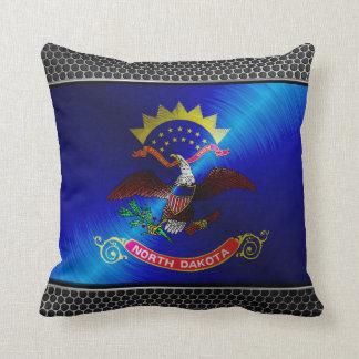 North Dakota brushed metal flag Throw Pillow