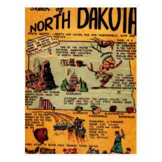 North Dakota Comic Book Postcard