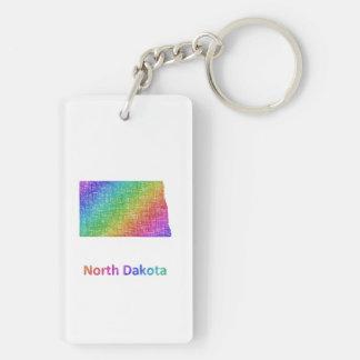 North Dakota Double-Sided Rectangular Acrylic Keychain