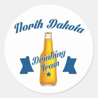 North Dakota Drinking team Classic Round Sticker