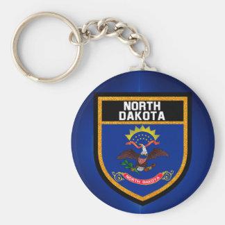 North Dakota Flag Basic Round Button Keychain
