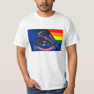 North Dakota Flag Gay Pride Rainbow T-Shirt