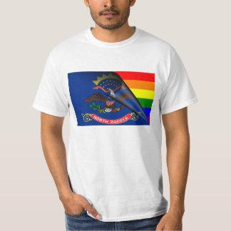 North Dakota Flag Gay Pride Rainbow Tees