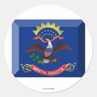 North Dakota Flag Gem Round Sticker
