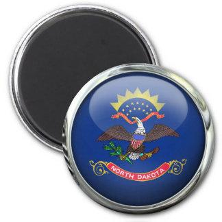 North Dakota Flag Glass Ball 2 Inch Round Magnet