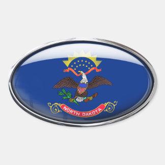 North Dakota Flag Glass Oval Oval Sticker