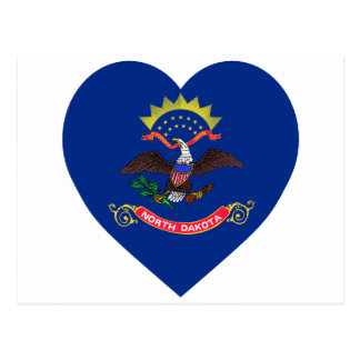 North Dakota Flag Heart Postcard