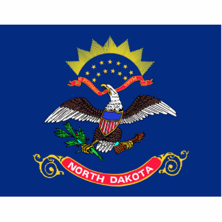 North Dakota Flag Keychain Cut Out