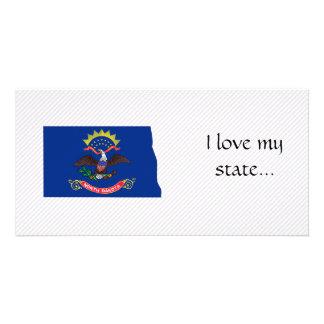 North Dakota Flag Map Photo Greeting Card