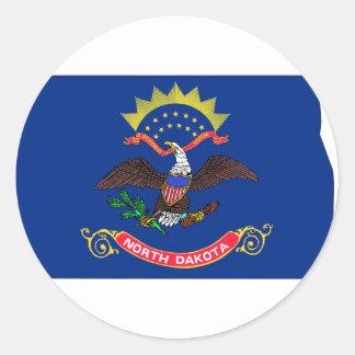North Dakota Flag Map Round Sticker