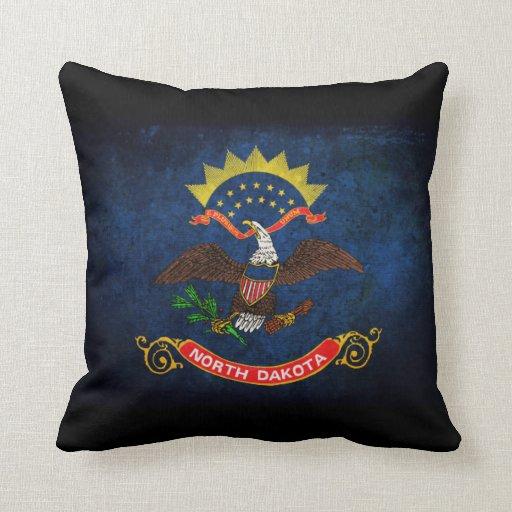 North Dakota Flag Throw Pillows