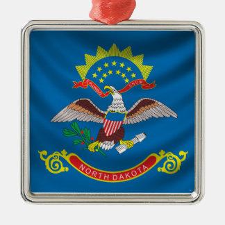 North Dakota Flag Silver-Colored Square Ornament
