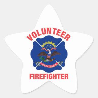 North Dakota Flag Volunteer Firefighter Cross Star Sticker