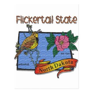 North Dakota Flickertail State Meadowlark Rose Postcard