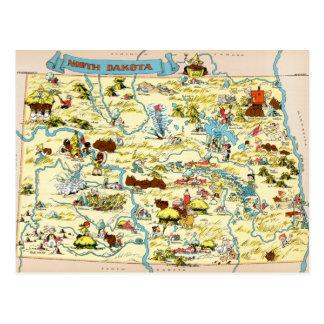 North Dakota Funny Vintage Map Postcard