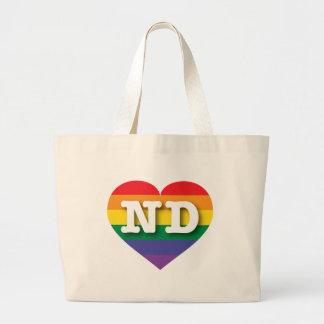 North Dakota Gay Pride Rainbow Heart - Big Love Large Tote Bag