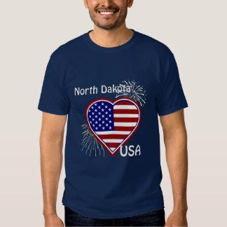 North Dakota July 4th Fireworks Heart Flag Navy T Tee Shirt
