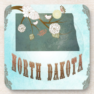 North Dakota Map With Lovely Birds Drink Coaster