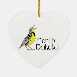 North Dakota Meadowlark Ceramic Ornament